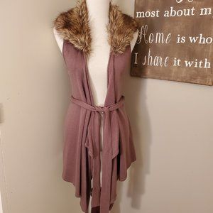 Twelve by Twelve Brown Faux Fur Collar Vest